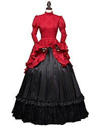 cheap -Cosplay Lolita / Victorian Costume Women's Dress / Party Costume Red / black Vintage Cosplay Satin / Tulle / Dobby Fabric Long Sleeve Flare Sleeve Halloween Costumes