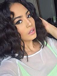 economico -Capello integro Lace frontale Parrucca Brasiliano Ondulato Parrucca Taglio medio corto / Breve Bob 130% Morbido / Naturale / Attaccatura dei capelli naturale Naturale Per donna Corto Parrucche di