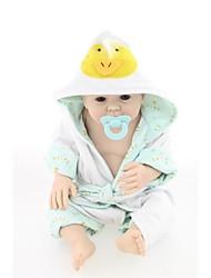 baratos -NPKCOLLECTION Bonecas Reborn Bebês Meninos 22 polegada Silicone de corpo inteiro / Vinil - realista, Implantação artificial olhos azuis de Criança Para Meninos Dom