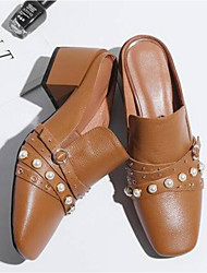 abordables -Femme Chaussures Cuir Nappa Printemps été Confort / A Bride Arrière Sabot & Mules Talon Bottier Bout fermé Noir / Beige / Brun claire