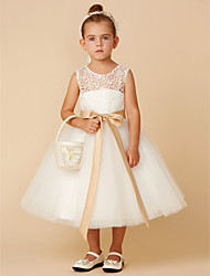 cheap -Princess Tea Length Flower Girl Dress - Lace / Tulle Sleeveless Jewel Neck with Bow(s) / Sash / Ribbon by LAN TING BRIDE®