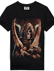 baratos -Homens Camiseta Caveira / Exagerado Estampado, Quadriculada / Caveiras
