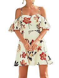 abordables -Mujer Boho / Chic de Calle Vaina Vestido - Acordonado, Floral Sobre la rodilla