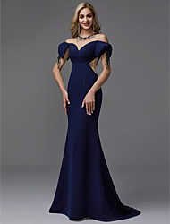 cheap -Mermaid / Trumpet Illusion Neck Sweep / Brush Train Chiffon / Satin Formal Evening Dress with Beading by TS Couture®