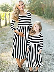 cheap -Kids Mommy and Me Striped 3/4 Length Sleeve Dress