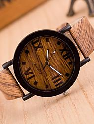 baratos -Mulheres Relógio de Pulso Chinês Relógio Casual Couro Banda Fashion / Madeira Preta / Marrom / Cinza