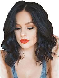 billiga -Syntetiska peruker / Syntetiska snörning framifrån Dam Vågigt Svart Middle Part Syntetiskt hår Justerbar / Värmetåligt / Naturlig hårlinje Svart Peruk Korta Spetsfront Svart Mörkbrun Modernfairy Hair