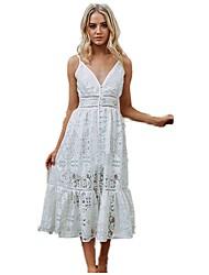 cheap -Women's Going out Slim Swing Dress Cut Out Asymmetrical V Neck