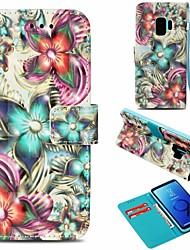 Недорогие -Кейс для Назначение SSamsung Galaxy S9 Кошелек / Бумажник для карт / со стендом Чехол Цветы Твердый Кожа PU для S9