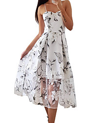 Недорогие -Жен. Тонкие С летящей юбкой Платье На бретелях Средней длины
