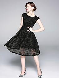 Недорогие -Жен. Классический А-силуэт / Оболочка Платье Сетка / Кружевная отделка Средней длины