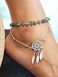 baratos -Turquesa Camadas tornozeleira - Apanhador de Sonhos Natureza Prata Para Diário / Mulheres