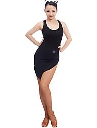 お買い得  -ラテンダンス ドレス 女性用 訓練 モーダル スリット ノースリーブ ナチュラルウエスト ドレス