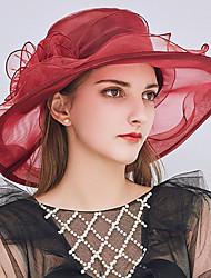 Недорогие -Жен. Для вечеринки / Праздник Панама / Широкополая шляпа / Соломенная шляпа - Оборки Пэчворк