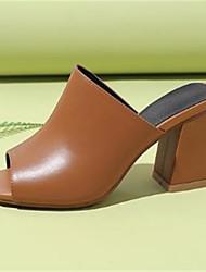 abordables -Mujer Zapatos Cuero Verano Pump Básico Sandalias Tacón Cuadrado Punta abierta Blanco / Negro / Marrón