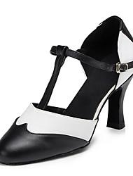 Недорогие -Жен. Обувь для модерна Наппа Leather Сандалии Оборки Кубинский каблук Танцевальная обувь Черный / белый
