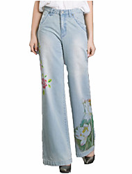 cheap -women's cotton loose jeans pants - solid colored high waist