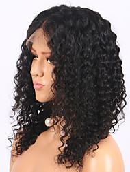 Недорогие -Remy Лента спереди Парик Бразильские волосы Кудрявый Парик Стрижка боб 130% Плотность волос с детскими волосами Природные волосы Парик в афро-американском стиле Жен. Короткие Средняя длина