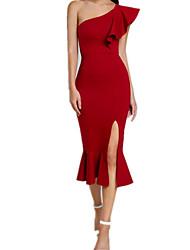 abordables -Femme Sortie Midi Gaine Robe Bateau Noir Rouge Violet L XL XXL Sans Manches