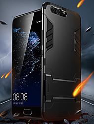 Недорогие -Кейс для Назначение Huawei P10 со стендом Кейс на заднюю панель Однотонный Твердый ПК для P10