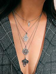 preiswerte -Damen Mehrschichtig Anhängerketten / Layered Ketten - Klassisch, Retro Silber Die Hand von Fatima 55 cm Modische Halsketten 1pc Für Strasse, Ausgehen