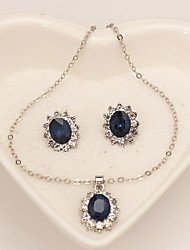 cheap -Women's Synthetic Sapphire Jewelry Set - Snowflake Classic, Fashion Include Stud Earrings / Necklace Dark Blue For Daily / Formal