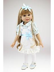 Недорогие -NPKCOLLECTION Модная кукла Девушка из провинции 18 дюймовый Полный силикон для тела Винил - как живой Искусственные имплантации Голубые глаза Детские Девочки Игрушки Подарок