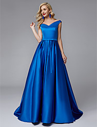 cheap -Princess V Neck Sweep / Brush Train Satin Bridesmaid Dress with Sash / Ribbon / Pleats by LAN TING BRIDE® / Beautiful Back