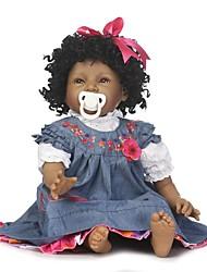 billige -NPKCOLLECTION Reborn-dukker Babypiger 24 inch Silikone - livagtige Gave Børnesikker Ikke Giftig Tippede og forseglede negle Naturlig hudfarve Børne Pige Legetøj Gave / Kunstig Implantation Brown Eyes