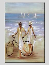 abordables -Peinture à l'huile Hang-peint Peint à la main - Paysage / Personnage Moderne Toile