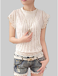 cheap -Women's Shirt - Solid Colored Lace