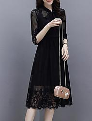 Недорогие -Жен. Уличный стиль / Изысканный Прямое Платье - Однотонный, Кружева Средней длины
