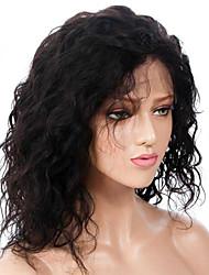 baratos -Cabelo Remy Frente de Malha Peruca Cabelo Brasileiro Encaracolado Peruca 130% Com Baby Hair / Nova chegada / Riscas Naturais Natural Mulheres Comprimento médio Perucas de Cabelo Natural