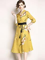 お買い得  -女性用 ストリートファッション Aライン ドレス - プリント, フラワー ミディ