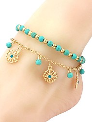 cheap -Turquoise Anklet - Flower Vintage, Fashion Blue For Holiday / Going out / Women's