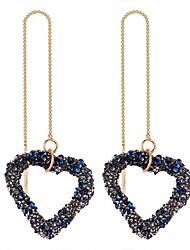abordables -Mujer Largo Pendientes colgantes - Corazón Étnico, Dulce, Moda Blanco / Negro / Azul Para Fiesta de Noche / Cumpleaños
