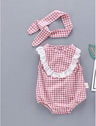 baratos -bebê Unisexo Básico Quadriculada Sem Manga Peça Única / Bébé