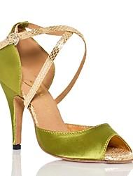 preiswerte -Damen Schuhe für den lateinamerikanischen Tanz Satin Sneaker Tierdruck Schlanke High Heel Tanzschuhe Grün / Dunkellila