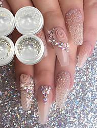baratos -4 pcs Purpurina Luminoso arte de unha Manicure e pedicure Casamento / Festa / Dia a Dia Metálico