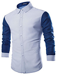 cheap -Men's Active / Street chic Cotton Shirt - Solid Colored / Polka Dot Blue & White / Long Sleeve