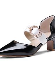 お買い得  -女性用 靴 PUレザー 春夏 ベーシックサンダル ヒール チャンキーヒール ポインテッドトゥ ホワイト / ブラック / Brown