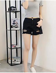 preiswerte -Damen Aktiv Übergrössen Baumwolle Jeans / Kurze Hosen Hose - Quaste, Solide Schwarz & Rot