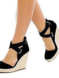 povoljno -Žene Cipele Brušena koža Proljeće ljeto D'Orsay cipele / Obične salonke Sandale Wedge Heel Otvoreno toe Crn / Plava / Zabava i večer
