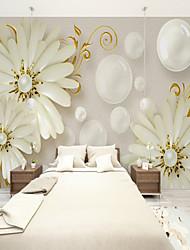 Недорогие -Искусство жемчужное ядро ромашка цветок на заказ обои 3d настенные обои, подходящие для кухни спальни