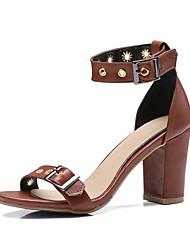お買い得  -女性用 靴 PUレザー 夏 アンクルストラップ サンダル チャンキーヒール オープントゥ ブラック / アーモンド / ライトブラウン