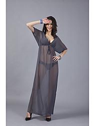 baratos -Mulheres Para Noite / Praia balanço Vestido Decote V Cintura Alta Longo