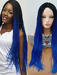 baratos -Perucas sintéticas Encaracolado Trança Cabelo Sintético Cabelo Ombre / Repartida ao Meio / Perucas Trançadas Azul Peruca Mulheres Longo Sem Touca
