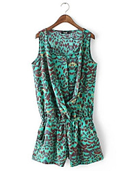 cheap -Women's Going out Cotton Slim Romper - Leopard, Print Harem Strap