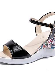 お買い得  -女性用 靴 PUレザー 春夏 アンクルストラップ サンダル ウエッジヒール ベックル ブラック / ベージュ