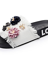 cheap -Women's Shoes Denim Summer Comfort Slippers & Flip-Flops Flat Heel Open Toe Pearl / Satin Flower Black / Blue / Pink